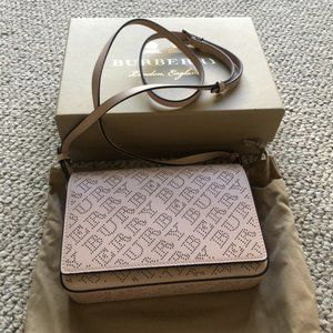 Burberry Hampshire Pink Perforated Leather Bag NEW